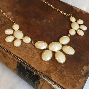 Cream Crystal Facet Statement Necklace